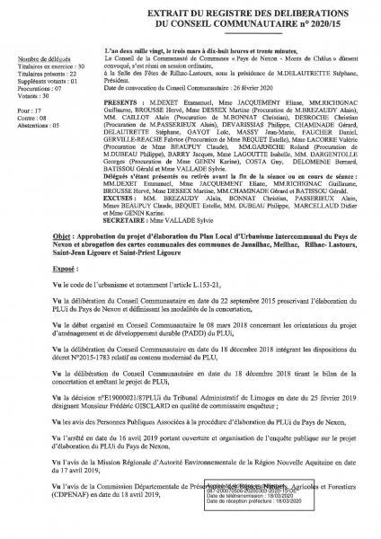 2020 15 approbation projet elaboration plui du pays de nexon et abrogation cartes communales page 001
