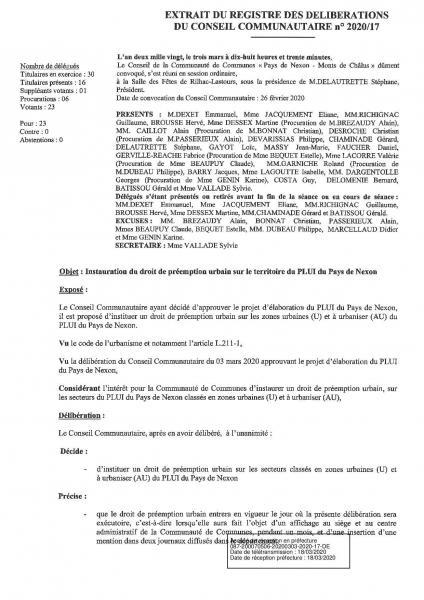 2020 17 instauration droit de preemption urbain territoire plui du pays de nexon page 001